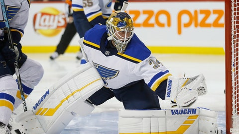 <p>               St. Louis Blues goaltender Jake Allen gloves the puck on a shot from Winnipeg Jets' Adam Lowry during the second period of an NHL hockey game Friday, Dec. 7, 2018, in Winnipeg, Manitoba. (John Woods/The Canadian Press via AP)             </p>