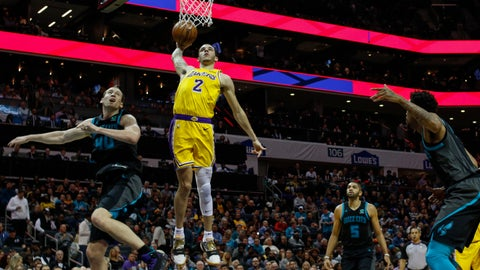 <p>               Los Angeles Lakers guard Lonzo Ball (2) dunks against Charlotte Hornets center Cody Zeller, left, in the second half of an NBA basketball game in Charlotte, N.C., Saturday, Dec. 15, 2018. (AP Photo/Nell Redmond)             </p>