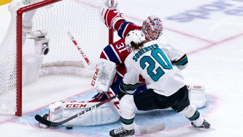<p>               Montreal Canadiens goaltender Carey Price makes a save off San Jose Sharks' Marcus Sorensen during the second period of an NHL hockey game, Sunday, Dec. 2, 2018, in Montreal. (Paul Chiasson/The Canadian Press via AP)             </p>