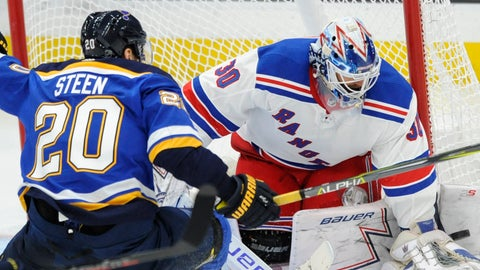 <p>               New York Rangers goalie Henrik Lundqvist (30), of Sweden, blocks a shot by St. Louis Blues' Alexander Steen (20) during the second period of an NHL hockey game Monday, Dec. 31, 2018, in St. Louis. (AP Photo/Bill Boyce)             </p>