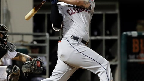 <p>               FILE - In this Sept. 25, 2018, file photo, Cleveland Indians' Yonder Alonso hits a two-run single against the Chicago White Sox during the third inning of a baseball game in Chicago. A person familiar with the deal says the White Sox have acquired first baseman Yonder Alonso in a trade with the Indians. (AP Photo/Nam Y. Huh, File)             </p>