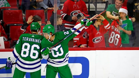 <p>               Carolina Hurricanes' Sebastian Aho (20) and Teuvo Teravainen (86) warmup in Hartford Whalers jerseys prior to their game with the Boston Bruins Sunday, Dec. 23, 2018, in Raleigh, N.C. (AP Photo/Karl B DeBlaker)             </p>