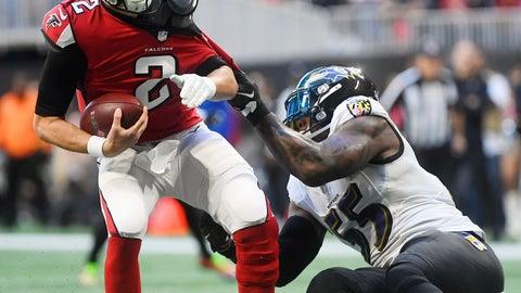 <p>               Baltimore Ravens outside linebacker Terrell Suggs (55) sacks Atlanta Falcons quarterback Matt Ryan (2) during the first half of an NFL football game, Sunday, Dec. 2, 2018, in Atlanta. (AP Photo/John Amis)             </p>