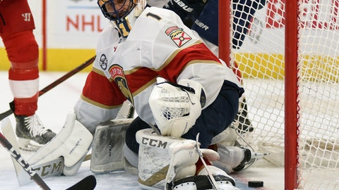 <p>               Florida Panthers goaltender Roberto Luongo (1) watches as the puck goes past him, scored by Detroit Red Wings left wing Thomas Vanek of Austria during the second period of an NHL hockey game in Detroit, Saturday, Dec. 22, 2018. (AP Photo/Jose Juarez)             </p>