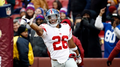 <p>               New York Giants running back Saquon Barkley (26) celebrates his 78-yard touchdown during the first half of an NFL football game against the Washington Redskins, Sunday, Dec. 9, 2018, in Landover, Md. (AP Photo/Patrick Semansky)             </p>