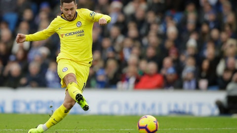 <p>               Chelsea's Eden Hazard scores his side's second goal during the English Premier League soccer match between Brighton and Hove Albion and Chelsea at the Amex Stadium in Brighton, England, Sunday, Dec. 16, 2018. (AP Photo/Matt Dunham)             </p>