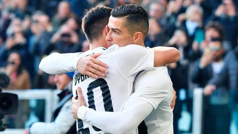 <p>               Juventus Cristiano Ronaldo, right, celebrates with teammate Paulo Dybala after scoring his side's opening goal during the Italian Serie A soccer match between Juventus and Sampdoria at Allianz stadium in Turin, Italy, Saturday, Dec. 29, 2018. (Alessandro De Marco/ANSA Via AP)             </p>
