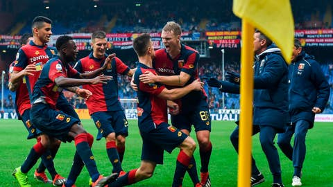 <p>               Genoa's Krzysztof Piatek, center, celebrates with his teammates after scoring during the Italian Serie A soccer match between Genoa and Atalanta in Genoa, Italy, Saturday, Dec. 22, 2018. (Simone Arveda/ANSA Via AP)             </p>