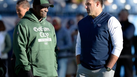 <p>               New York Jets head coach Todd Bowles, left, and Tennessee Titans head coach Mike Vrabel talk before an NFL football game Sunday, Dec. 2, 2018, in Nashville, Tenn. (AP Photo/Mark Zaleski)             </p>