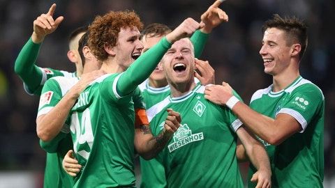 <p>               FILE - In this Dec 7, 2018 file photo Werder Bremen's Josh Sargent, left, celebrates with teammates after scoring a goal against Fortuna Duesseldorf during a Bundesliga soccer match in Bremen, Germany.  (Carmen Jaspersen/dpa via AP, file)             </p>