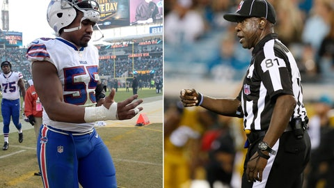 <p>               FILE - At left, in a Jan. 7, 2018, file photo, Buffalo Bills defensive end Jerry Hughes (55) leaves the field after an NFL wild-card playoff football game against the Jacksonville Jaguars, in Jacksonville, Fla. At right, in a Nov. 19, 2015, file photo, umpire Roy Ellison (81) gestures during the third quarter of an NFL football game between the Jacksonville Jaguars and Tennessee Titans, in Jacksonville, Fla. The NFL Referees Association is questioning why the league isn't focusing more attention on Bills defensive end Jerry Hughes for threatening umpire Roy Ellison following Buffalo's game at Miami last weekend. Ellison has been placed on administrative leave while the NFL investigates Hughes' accusation that Ellison called him a vulgar name during the game. In a statement released Wednesday, Dec. 5, 2018, NFLRA executive director Scott Green says the association expects the NFL's investigation to clear Ellison while turning the focus on Hughes. (AP Photo/File)             </p>