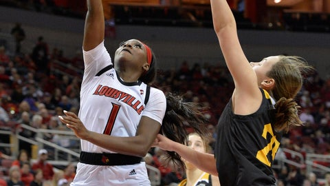<p>               Louisville guard Dana Evans (1) drives past Northern Kentucky guard Ally Niece (25) to attempt a layup during the second half of an NCAA college basketball game in Louisville, Ky., Saturday, Dec. 15, 2018. Louisville won 92-59. (AP Photo/Timothy D. Easley)             </p>