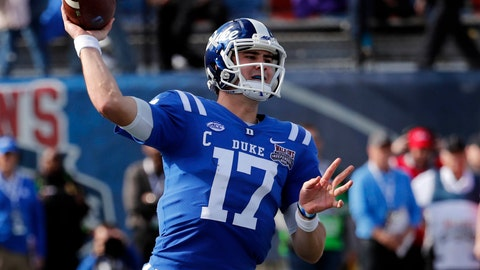<p>               Duke quarterback Daniel Jones (17) passes against Temple during the first half of the Independence Bowl, an NCAA college football game in Shreveport, La., Thursday, Dec. 27, 2018. (AP Photo/Rogelio V. Solis)             </p>