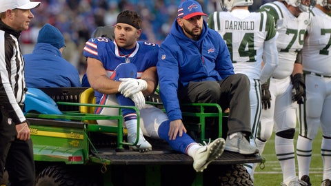 <p>               FILE - In this Dec. 9, 2018, file photo, Buffalo Bills outside linebacker Matt Milano (58) is carted from the field after an injury during the second half of an NFL football game New York Jets in Orchard Park, N.Y. Milano has had surgery to repair a broken left leg and will miss the remainder of the season. Coach Sean McDermott provided the update on Monday, Dec. 10, 2018, a day after Milano broke his fibula in a loss to the Jets. (AP Photo/Adrian Kraus, File)             </p>