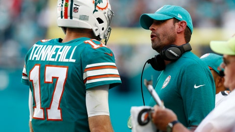 <p>               Miami Dolphins head coach Adam Gase talks to quarterback Ryan Tannehill (17), during the second half at an NFL football game against the Jacksonville Jaguars, Sunday, Dec. 23, 2018, in Miami Gardens, Fla. (AP Photo/Brynn Anderson)             </p>