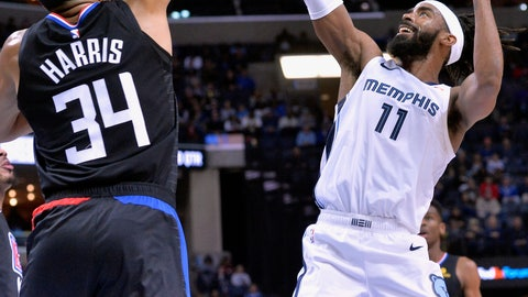 <p>               Memphis Grizzlies guard Mike Conley (11) shoots against Los Angeles Clippers forward Tobias Harris (34) in the second half of an NBA basketball game Wednesday, Dec. 5, 2018, in Memphis, Tenn. (AP Photo/Brandon Dill)             </p>
