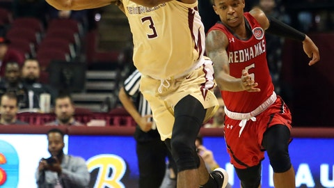 <p>               Florida State's Trent Forrest (3) passes the ball upcourt while pursued by Southeast Missouri's Jonathan Dalton in the second half of an NCAA college basketball game Monday, Dec. 17, 2018, in Tallahassee, Fla. (AP Photo/Steve Cannon)             </p>