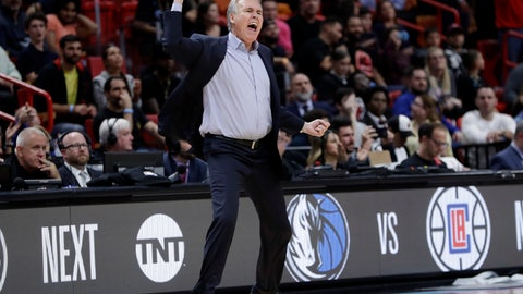 <p>               Houston Rockets head coach Mike D'Antoni reacts during the second half of an NBA basketball game against the Miami Heat, Thursday, Dec. 20, 2018, in Miami. The Heat won 101-99. (AP Photo/Lynne Sladky)             </p>