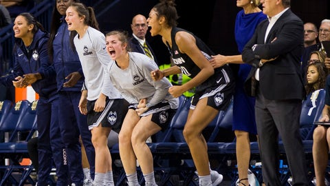 <p>               Connecticut players celebrate on the bench during the second half of an NCAA college basketball game against Notre Dame, Sunday, Dec. 2, 2018, in South Bend, Ind. (AP Photo/Robert Franklin)             </p>
