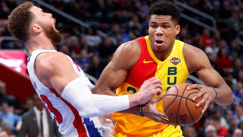 <p>               Milwaukee Bucks forward Giannis Antetokounmpo (34) charges into Detroit Pistons forward Blake Griffin (23) in the first half of an NBA basketball game in Detroit, Monday, Dec. 17, 2018. (AP Photo/Paul Sancya)             </p>