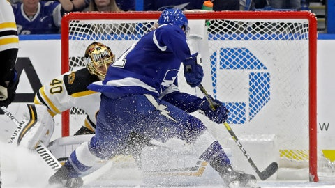 <p>               Tampa Bay Lightning center Anthony Cirelli (71) beats Boston Bruins goaltender Tuukka Rask (40) for a goal during the third period of an NHL hockey game Thursday, Dec. 6, 2018, in Tampa, Fla. (AP Photo/Chris O'Meara)             </p>
