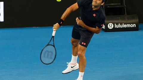 <p>               Roger Federer of Switzerland during his mixed doubles match with Belinda Bencic, against Cameron Norrie and Katie Boulter of Britain at the Hopman Cup in Perth, Australia, Sunday Dec. 30, 2018. (AP Photo/Trevor Collens)             </p>