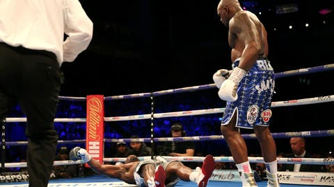 <p>               Dereck Chisora, left, is knocked out by Dillian Whyte during a heavyweight boxing bout Saturday, Dec. 22, 2018, in London. (Steven Paston/PA via AP)             </p>
