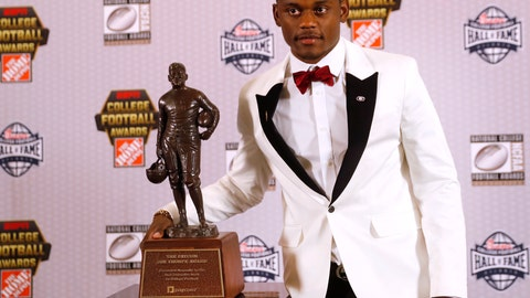 <p>               Georgia's Deandre Baker poses with the trophy after winning the Jim Thorpe Award as top defensive back in college football Thursday, Dec. 6, 2018, in Atlanta. (AP Photo/John Bazemore)             </p>
