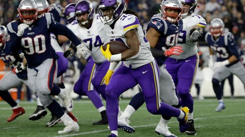 <p>               FILE - In this Sunday, Dec. 2, 2018 file photo, Minnesota Vikings running back Dalvin Cook (33) runs against the New England Patriots during the first half of an NFL football game in Foxborough, Mass.  One of the Patriots' biggest weaknesses on defense this season has been containing opponents on the ground. New England has allowed 100 or more rushing yards seven times and is coming off giving up a season-high 189 in last week's loss at Miami. A trip to Pittsburgh is next, but for just the second time in five meetings the Patriots won't have to contend with Le'Veon Bell. (AP Photo/Steven Senne, File)             </p>