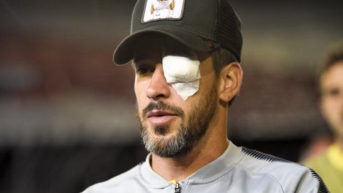 <p>               Pablo Perez of Argentina's Boca Juniors, walks on the pitch of the Antonio Vespucio Liberti stadium wearing an eye patch, after the final soccer match of the Copa Libertadores was rescheduled for Sunday, in Buenos Aires, Argentina, Saturday, Nov. 24, 2018. The match was rescheduled after the bus carrying the Boca Juniors players was attacked by River Plate fans, injuring several players including Perez. (AP Photo/Gustavo Garello)             </p>
