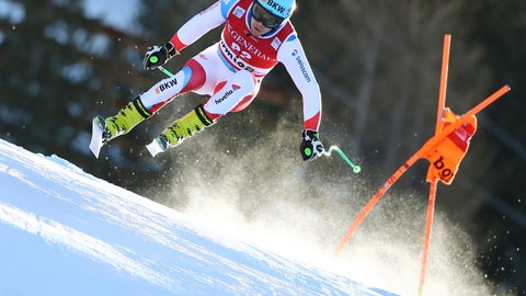 <p>               Switzerland's Patrick Kueng speeds down the course during a ski World Cup Men's Downhill training in Bormio, Italy, Thursday, Dec. 27, 2018. (AP Photo/Marco Trovati)             </p>