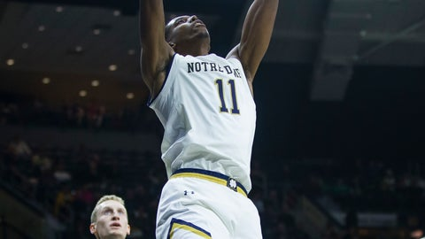 <p>               Notre Dame's Juwan Durham (11) dunks during an NCAA college basketball game against Binghamton Tuesday, Dec. 18, 2018 in South Bend, Ind. (Michael Caterina/South Bend Tribune via AP)             </p>