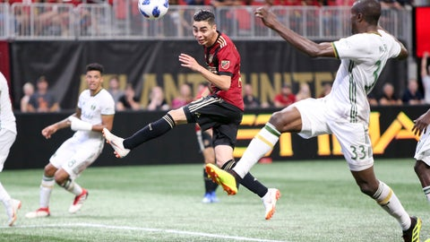 <p>               File - In this June 24, 2018, file photo, Atlanta United midfielder Miguel Almiron (10) has a shot defended by Portland Timbers defender Larrys Mabiala (33) in the second half of an MLS soccer match in Atlanta. Before an expected crowd of more than 70,000, Atlanta United will host the Portland Timbers in the MLS Cup championship game Saturday, Dec. 8, 2018. (AP Photo/Brett Davis, File)             </p>