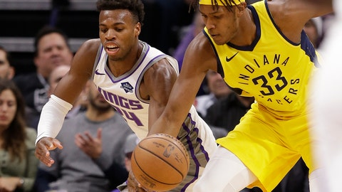 <p>               Sacramento Kings guard Buddy Hield, left, and Indiana Pacers center Myles Turner scramble for the ball during the first quarter of an NBA basketball game, Saturday, Dec. 1, 2018, in Sacramento, Calif. (AP Photo/Rich Pedroncelli)             </p>