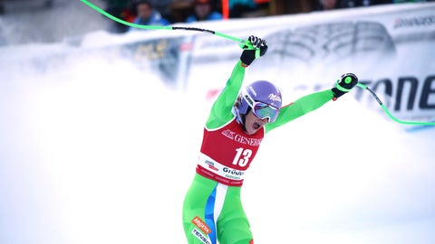 <p>               Slovenia's Ilka Stuhec celebrates at the finish area during a ski World Cup Women's Downhill, in Val Gardena, Italy, Tuesday, Dec. 18, 2018. (AP Photo/Alessandro Trovati)             </p>