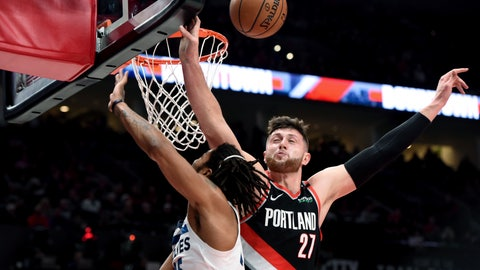 <p>               Portland Trail Blazers center Jusuf Nurkic, right, blocks the shot of Minnesota Timberwolves guard Derrick Rose during the first half of an NBA basketball game in Portland, Ore., Saturday, Dec. 8, 2018. (AP Photo/Steve Dykes)             </p>