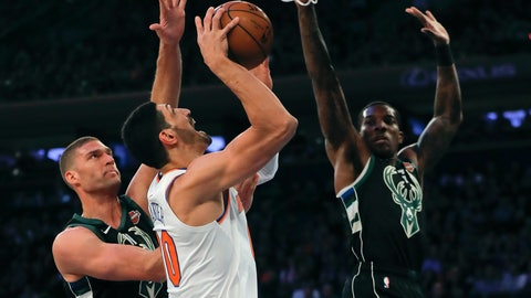 <p>               New York Knicks center Enes Kanter (00) puts up a shot against Milwaukee Bucks center Brook Lopez, left, during the first quarter of an NBA basketball game, Saturday, Dec. 1, 2018, in New York.(AP Photo/Julie Jacobson)             </p>