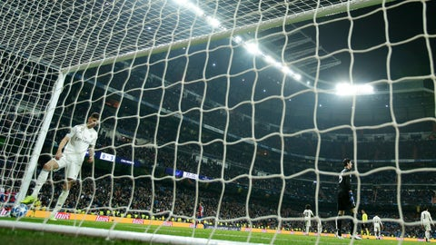 <p>               Real Madrid players stand after CSKA midfielder Arnor Sigurdsson scored his side third goal during the Champions League, Group G soccer match between Real Madrid and CSKA Moscow, at the Santiago Bernabeu stadium, in Madrid, Spain, Wednesday Dec. 12, 2018. (AP Photo/Manu Fernandez)             </p>