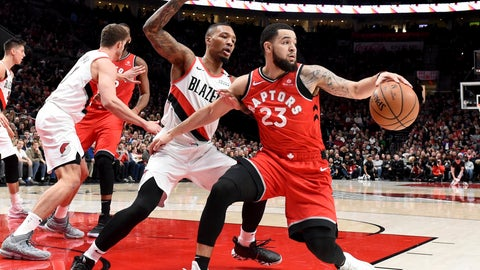 <p>               Toronto Raptors guard Fred VanVleet, right, tries to get past Portland Trail Blazers guard Damian Lillard, left, during the first half of an NBA basketball game in Portland, Ore., Friday, Dec. 14, 2018. (AP Photo/Steve Dykes)             </p>