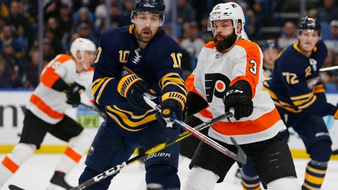 <p>               Buffalo Sabres forward Patrik Berglund (10) and Philadelphia Flyers defenseman Radko Gates (3) battle for the puck during the first period of an NHL hockey game, Saturday, Dec. 8, 2018, in Buffalo N.Y. (AP Photo/Jeffrey T. Barnes)             </p>
