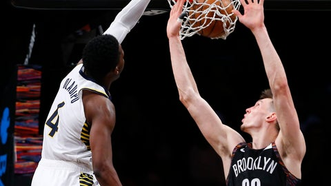 <p>               Indiana Pacers' Victor Oladipo (4) dunks against Brooklyn Nets' Rodions Kurucs (00) during the second half of an NBA basketball game, Friday, Dec. 21, 2018, in New York. (AP Photo/Noah K. Murray)             </p>