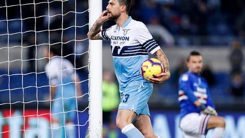 <p>               Lazio's Francesco Acerbi celebrates after scoring his side's opening goal during the Serie A soccer match between Lazio and Sampdoria at the Olympic stadium in Rome, Saturday, Dec. 8, 2018. (Riccardo Antimiani/ANSA via AP)             </p>