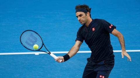 <p>               Switzerland's Roger Federer volleys during his match against Britain's Cameron Norrie at the Hopman Cup in Perth, Australia, Sunday Dec. 30, 2018. (AP Photo/Trevor Collens)             </p>