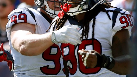 <p>               FILE - In this Sept. 24, 2017, file photo, Houston Texans linebacker Jadeveon Clowney, right, celebrates his touchdown with J.J. Watt, left, after recovering a fumble by New England Patriots quarterback Tom Brady during the first half of an NFL football game in Foxborough, Mass. Here's a crazy thought: The Houston Texans with home-field advantage throughout the AFC playoffs. Yep, the team that began the season 0-3 just might sneak past the Chiefs and Patriots and claim that coveted spot(AP Photo/Michael Dwyer, File)             </p>