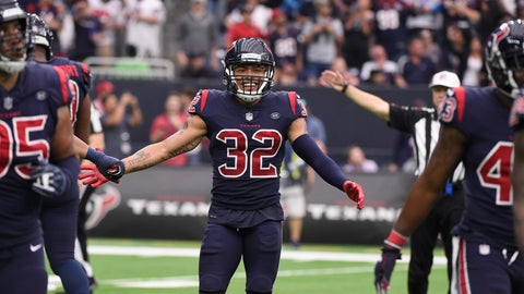 <p>               Houston Texans free safety Tyrann Mathieu (32) celebrates with teammates after the Texans recovered a Cleveland Browns fumble during the second half of an NFL football game, Sunday, Dec. 2, 2018, in Houston. (AP Photo/Eric Christian Smith)             </p>