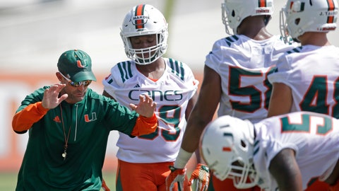 <p>               FILE - In this Aug. 4, 2016, file photo, Miami defensive coordinator Manny Diaz, left, gives instructions to players during drills at the NCAA college football team's practice in Coral Gables, Fla. Diaz has agreed to a 5-year deal as Miami's football coach, to replace Mark Richt, who retired Sunday, Dec. 30, 2018. Diaz was leaving Miami to become coach at Temple. (AP Photo/Alan Diaz, File)             </p>
