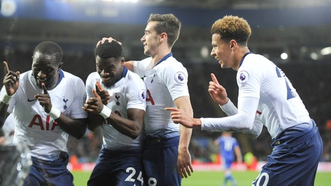 <p>               Tottenham's players celebrate after scoring their side's second goal during the English Premier League soccer match between Leicester City and Tottenham Hotspur at the King Power Stadium in Leicester, England, Saturday, Dec. 8, 2018. (AP Photo/Rui Vieira)             </p>