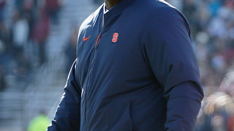 <p>               FILE- In this Nov. 24, 2018 file photo, Syracuse head coach Dino Babers looks on during the first half of an NCAA college football game against Boston College, Saturday in Boston. Babers has transformed Syracuse into a winner in three years at the helm. The Orange, who have won nine games and are ranked No. 17, meet No. 15 West Virginia on Friday, Dec. 28, 2018 in the Camping World Bowl. Babers, who just inked a contract extension, feels this is the start of sustained success that could lead to greater heights. (AP Photo/Mary Schwalm, File)             </p>