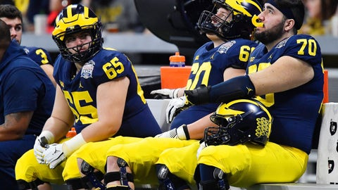 <p>               Michigan players sit on the bench in the closing seconds of the Peach Bowl NCAA college football game against Florida, Saturday, Dec. 29, 2018, in Atlanta. Florida won 41-15. (AP Photo/Mike Stewart)             </p>
