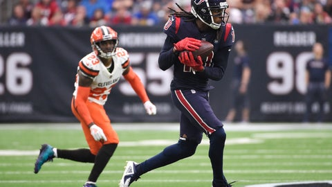 <p>               Houston Texans wide receiver DeAndre Hopkins (10) makes a catch in front of Cleveland Browns strong safety Damarious Randall (23) during the first half of an NFL football game, Sunday, Dec. 2, 2018, in Houston. (AP Photo/Eric Christian Smith)             </p>